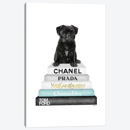Grey & Teal Fashion Books With Black Pug Canvas Print #GRE447} by Amanda Greenwood Canvas Wall Art