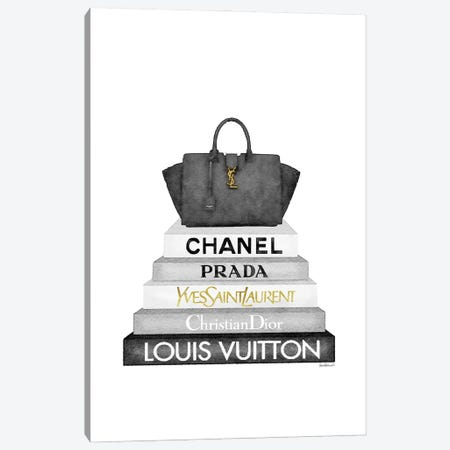 Grey Fashion Books With Black Bag Canvas Print #GRE449} by Amanda Greenwood Canvas Art Print
