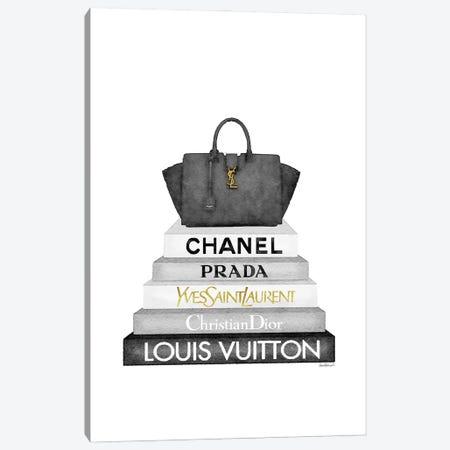 Grey Fashion Books With Black Bag Canvas Print #GRE449} by Amanda Greenwood Canvas Art Print