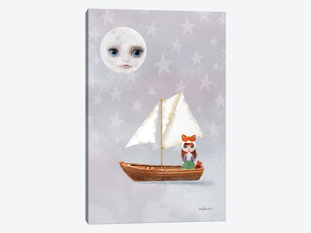 Miss Linda Fox Sailing A Boat by Amanda Greenwood 1-piece Canvas Wall Art
