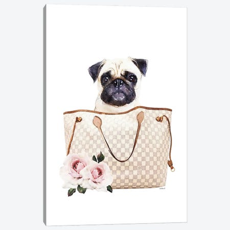 Grey/Tan Shoulder Bag With Cream Pug Canvas Print #GRE460} by Amanda Greenwood Canvas Print