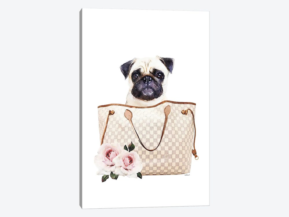 Grey/Tan Shoulder Bag With Cream Pug by Amanda Greenwood 1-piece Canvas Artwork