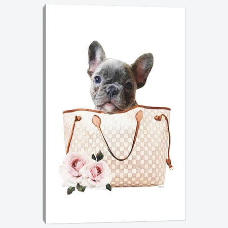 Grey/Tan Shoulder Bag With Grey Frenchie Canvas Print #GRE461} by Amanda Greenwood Canvas Print