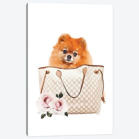 Grey/Tan Shoulder Bag With Pomeranian Canvas Print #GRE462} by Amanda Greenwood Canvas Print