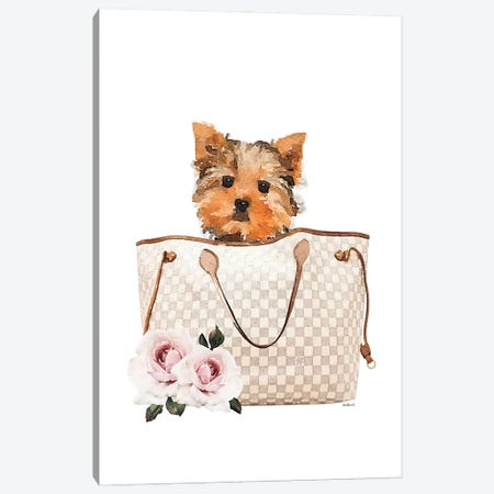 Grey/Tan Shoulder Bag With Yorkie Canvas Print #GRE463} by Amanda Greenwood Canvas Art Print