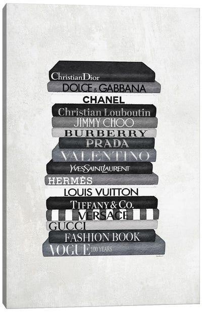 High Fashion Book Stack Black & White Canvas Art Print