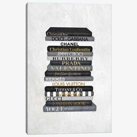 High Fashion Book Stack Black & White, Gold Font Canvas Print #GRE465} by Amanda Greenwood Canvas Wall Art