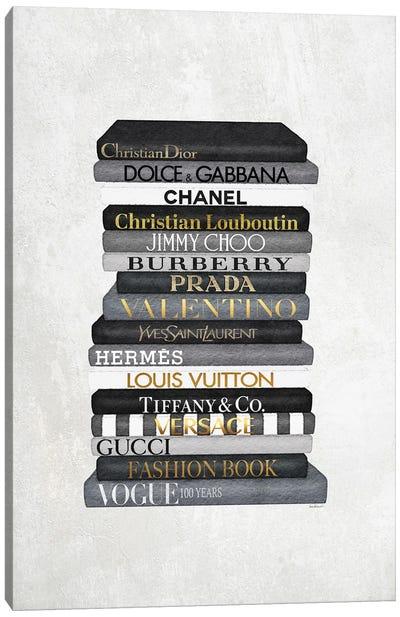 High Fashion Book Stack Black & White, Gold Font Canvas Art Print