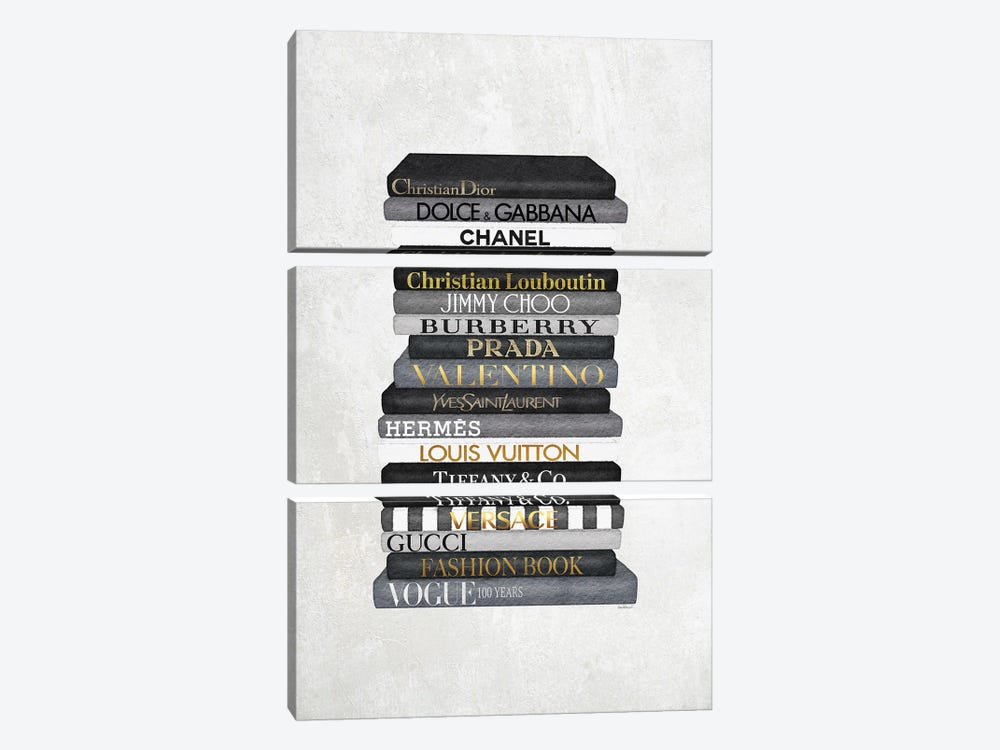 High Fashion Book Stack Black & White, Gold Font by Amanda Greenwood 3-piece Canvas Print