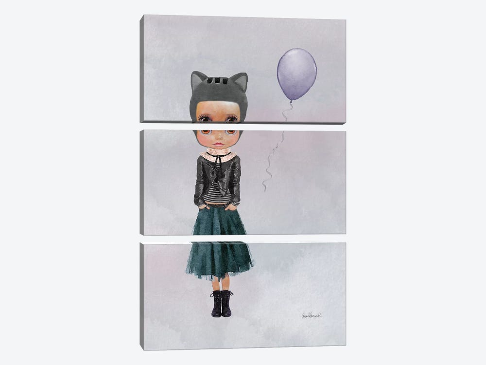 Miss Lola Cat With A Balloon by Amanda Greenwood 3-piece Canvas Art Print