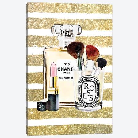 Make Up Set - Soft Pink Lipstick With Gold Stripe Canvas Print #GRE472} by Amanda Greenwood Canvas Wall Art