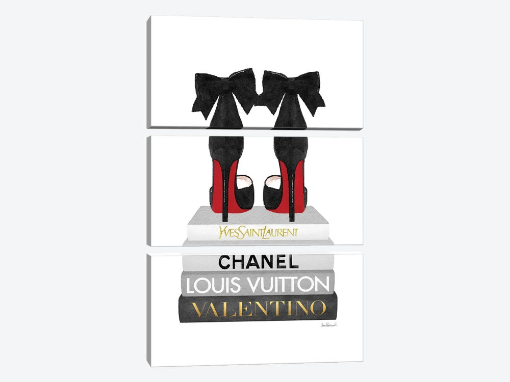 Medium Books Grey Tone, Black Shoes Red Sole by Amanda Greenwood 3-piece Canvas Art