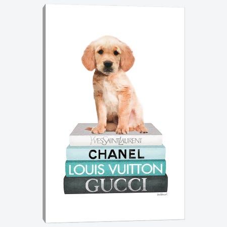 Medium Books Teal Tone, Labrador Puppy Canvas Print #GRE484} by Amanda Greenwood Canvas Art