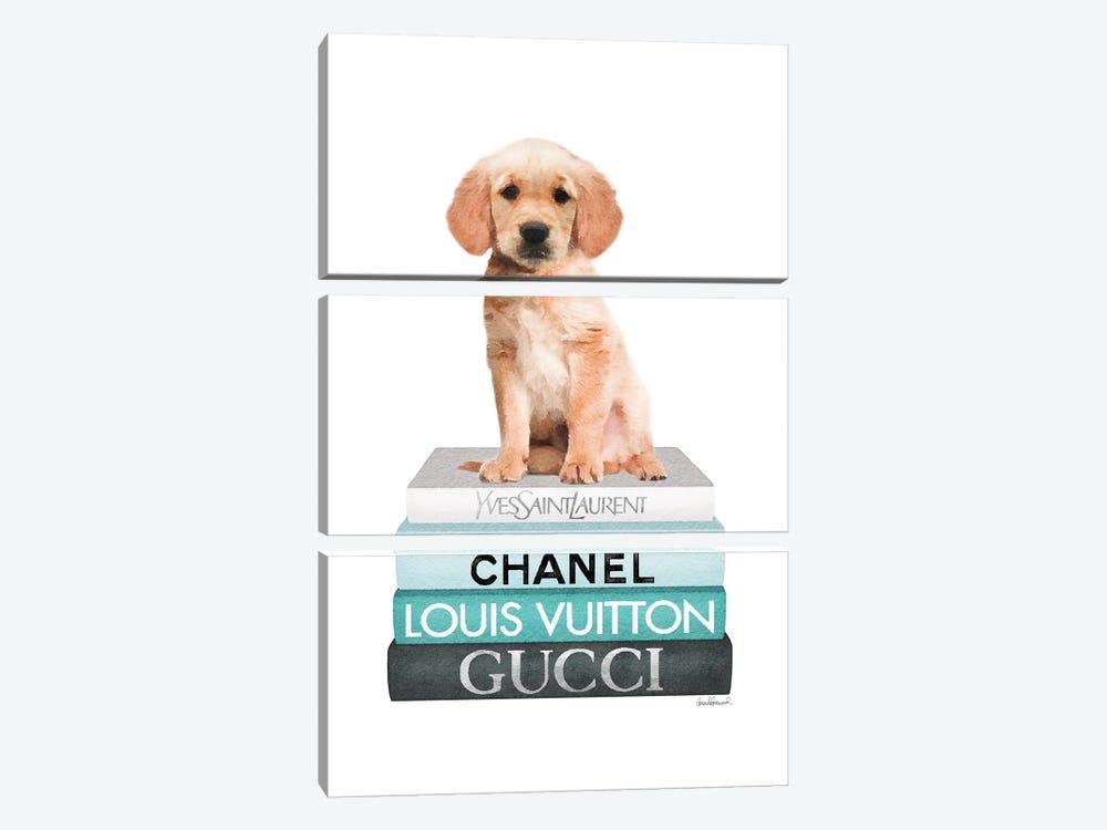Medium Books Teal Tone, Labrador Puppy by Amanda Greenwood 3-piece Canvas Wall Art