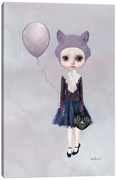Miss Sophia Wolf With A Balloon Canvas Print #GRE48