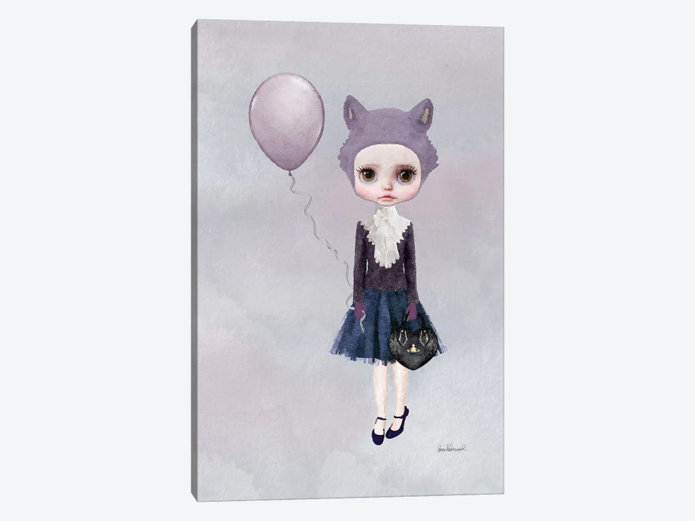 Miss Sophia Wolf With A Balloon by Amanda Greenwood 1-piece Canvas Print