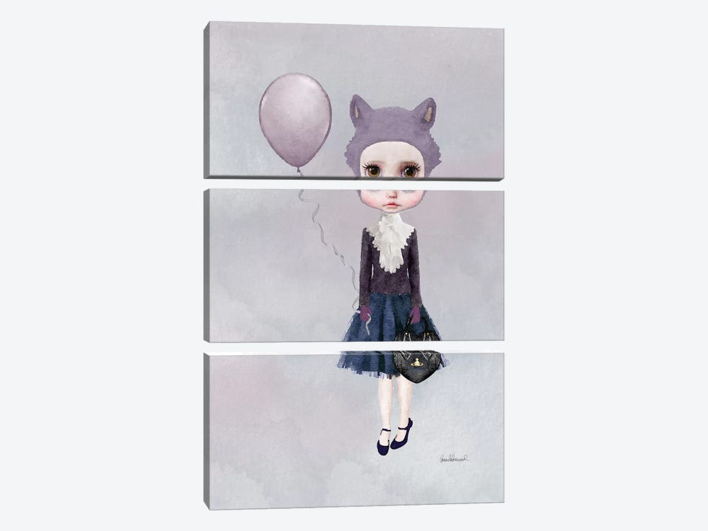 Miss Sophia Wolf With A Balloon by Amanda Greenwood 3-piece Canvas Print