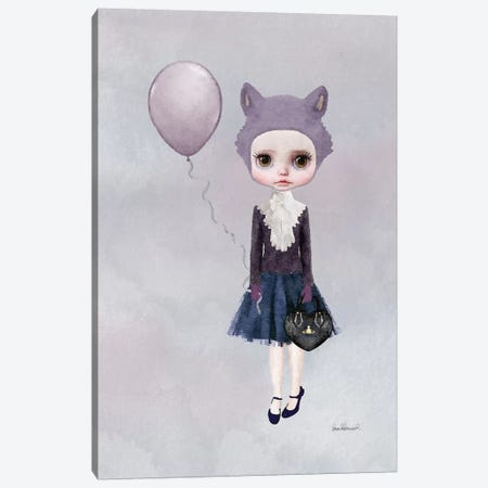 Miss Sophia Wolf With A Balloon Canvas Print #GRE48} by Amanda Greenwood Canvas Wall Art
