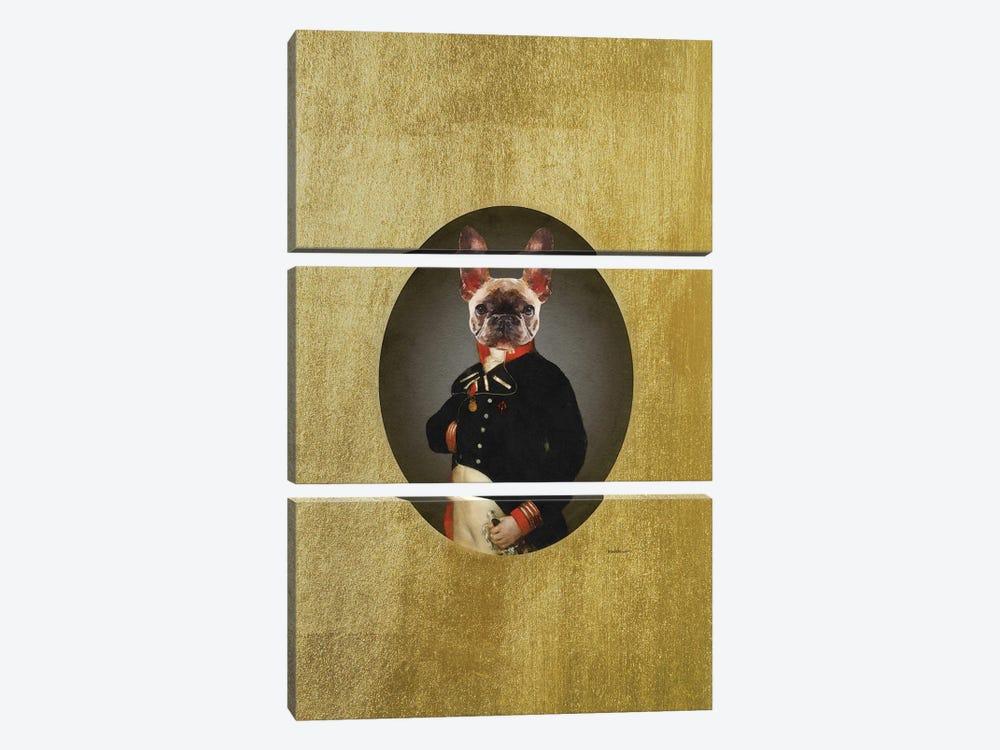 Nelson Portrait Brindle Frenchie by Amanda Greenwood 3-piece Canvas Print