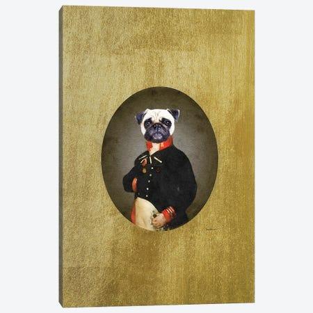 Nelson Portrait Cream Pug Canvas Print #GRE495} by Amanda Greenwood Art Print