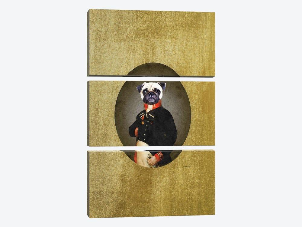 Nelson Portrait Cream Pug by Amanda Greenwood 3-piece Canvas Artwork