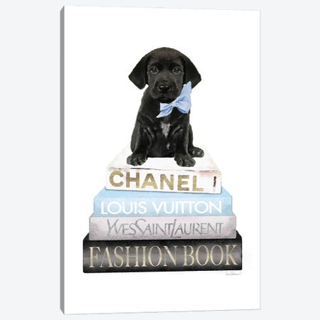 New Books Grey Blue With Black Labrador Canvas Print #GRE498} by Amanda Greenwood Canvas Art