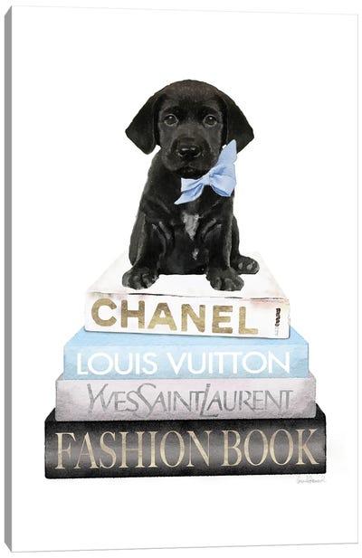 New Books Grey Blue With Black Labrador Canvas Art Print