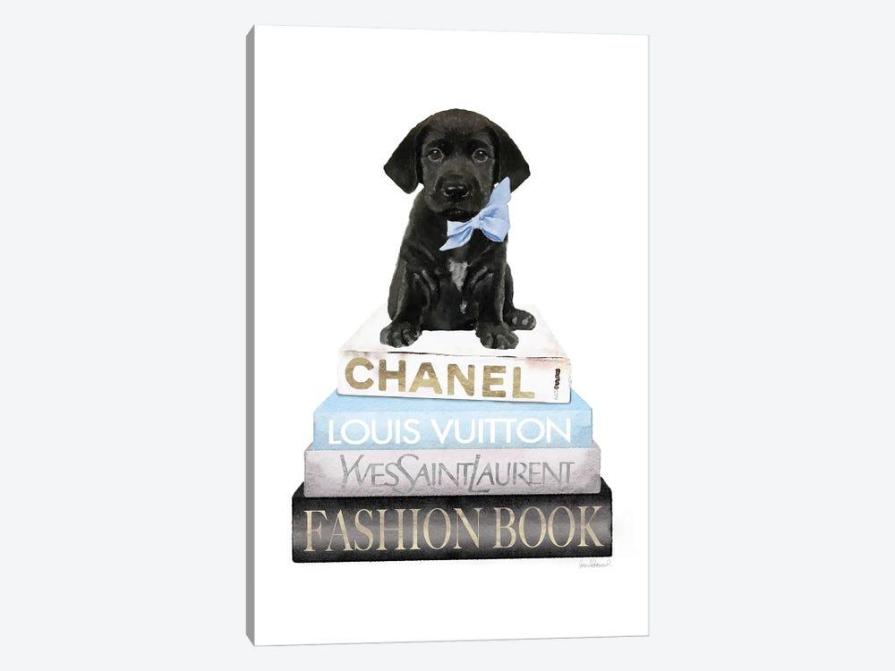 New Books Grey Blue With Black Labrador by Amanda Greenwood 1-piece Canvas Art Print