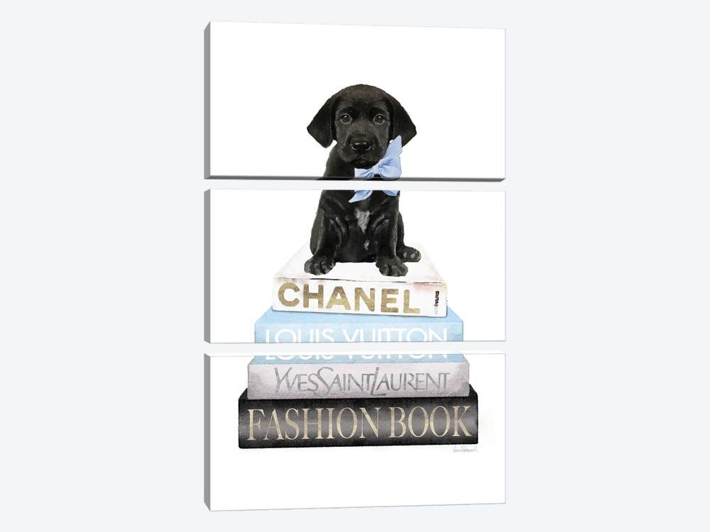 New Books Grey Blue With Black Labrador by Amanda Greenwood 3-piece Canvas Art Print