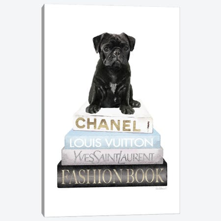 New Books Grey Blue With Black Pug Canvas Print #GRE499} by Amanda Greenwood Canvas Art