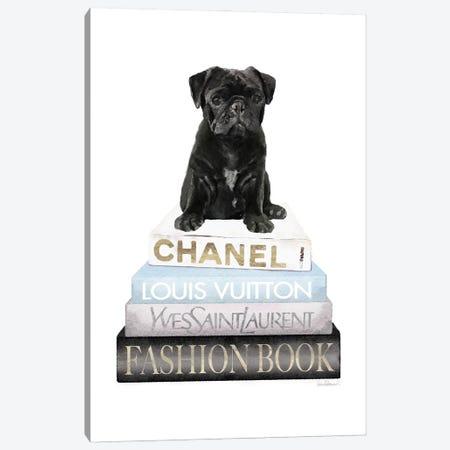 New Books Grey Blue With Black Pug Canvas Print #GRE499} by Amanda Greenwood Canvas Art
