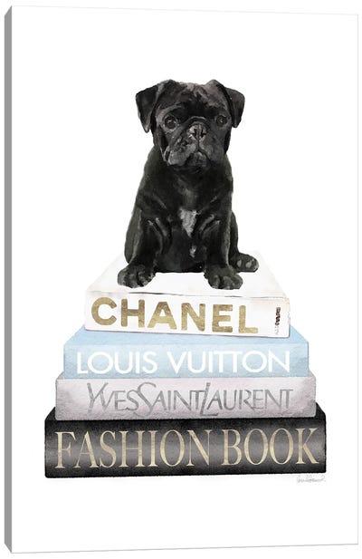 New Books Grey Blue With Black Pug Canvas Art Print