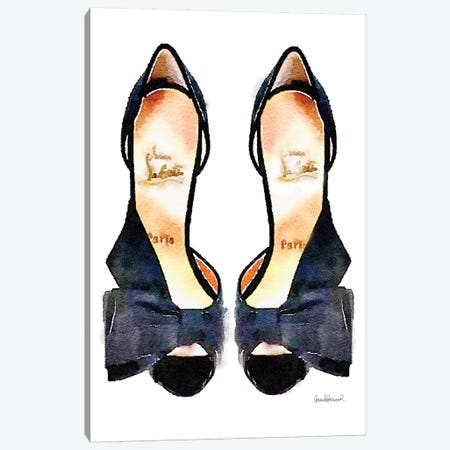 Black Bowed Shoes Canvas Print #GRE4} by Amanda Greenwood Canvas Art