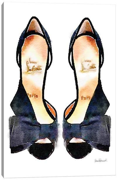Black Bowed Shoes Canvas Print #GRE4