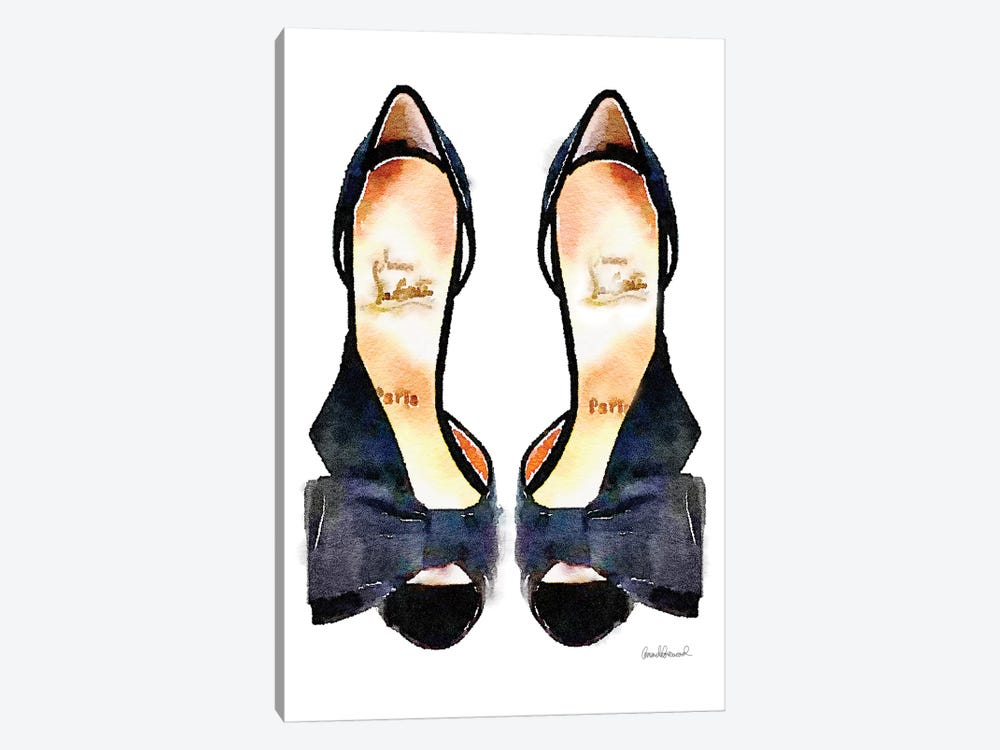 Black Bowed Shoes by Amanda Greenwood 1-piece Canvas Artwork