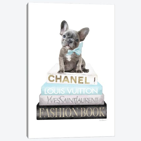 New Books Grey Blue With Grey Frenchie Side Bow Canvas Print #GRE500} by Amanda Greenwood Canvas Artwork