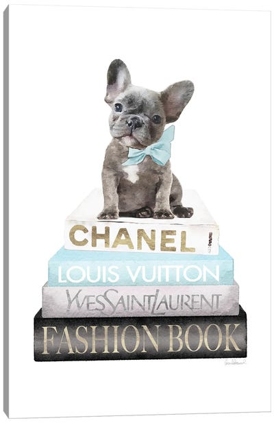 New Books Grey Blue With Grey Frenchie Side Bow Canvas Art Print