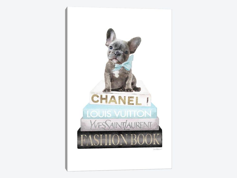 New Books Grey Blue With Grey Frenchie Side Bow by Amanda Greenwood 1-piece Art Print