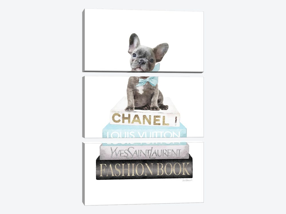 New Books Grey Blue With Grey Frenchie Side Bow by Amanda Greenwood 3-piece Canvas Art Print