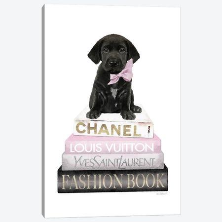 New Books Grey Blush With Black Labrador Canvas Print #GRE501} by Amanda Greenwood Canvas Wall Art