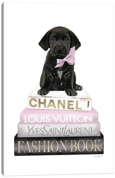 New Books Grey Blush With Black Labrador Canvas Art Print