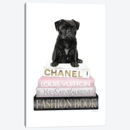 New Books Grey Blush With Black Pug Canvas Print #GRE502} by Amanda Greenwood Canvas Art