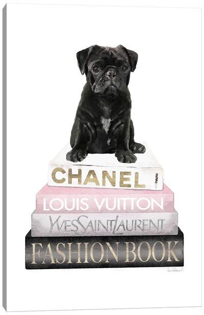 New Books Grey Blush With Black Pug Canvas Art Print