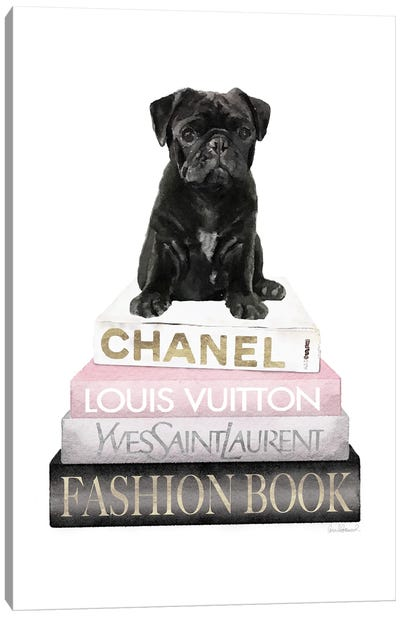 New Books Grey Blush With Black Pug Canvas Art Print