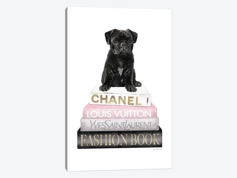 New Books Grey Blush With Black Pug by Amanda Greenwood 1-piece Canvas Art Print
