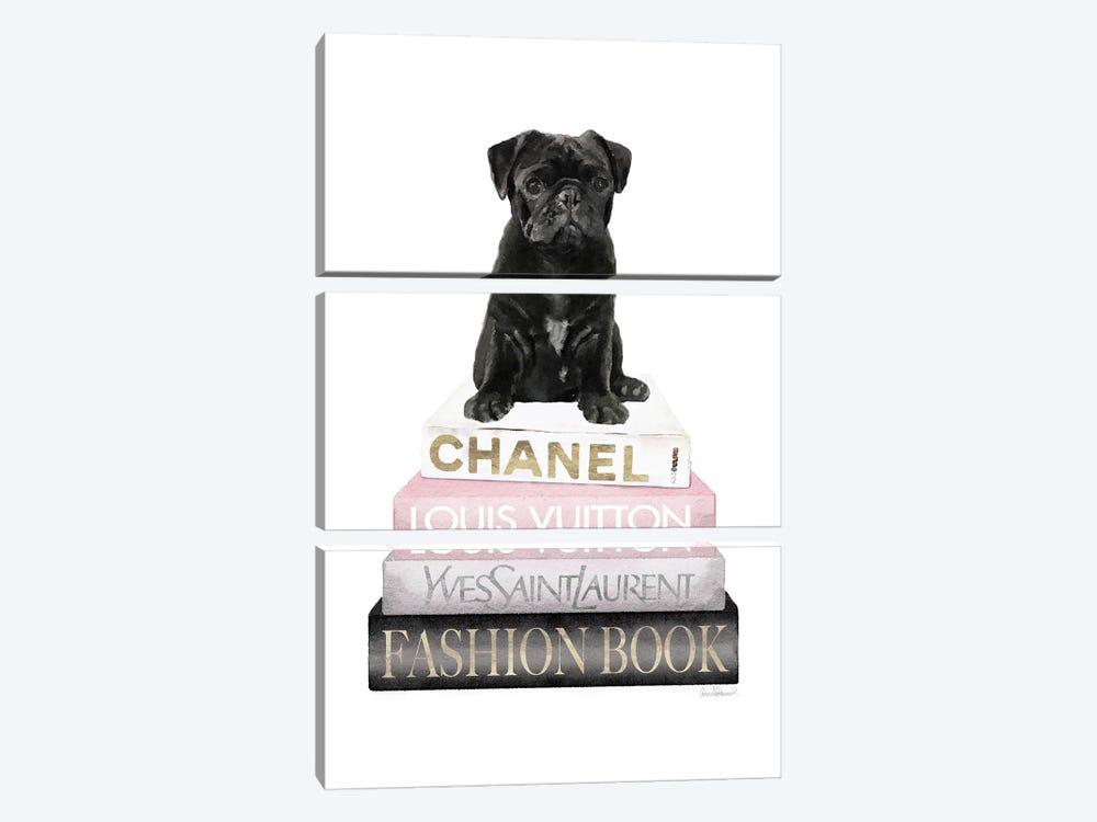 New Books Grey Blush With Black Pug by Amanda Greenwood 3-piece Art Print
