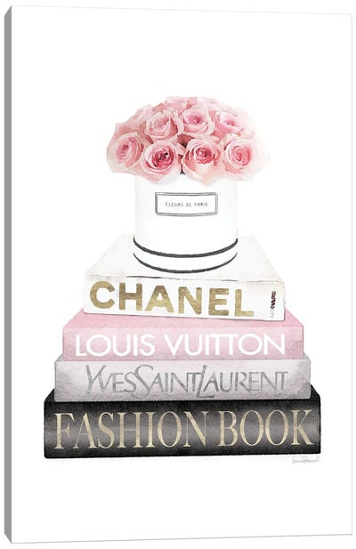New Books Grey Blush With Box Of Roses Canvas Art Print