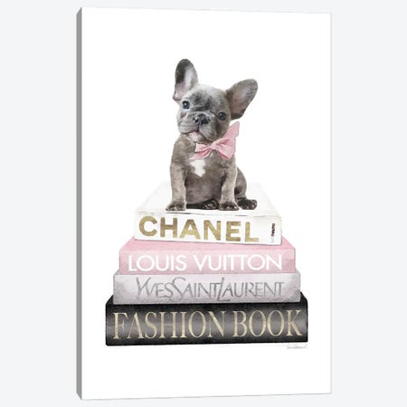 New Books Grey Blush With Grey Frenchie Side Bow Canvas Print #GRE504} by Amanda Greenwood Canvas Print