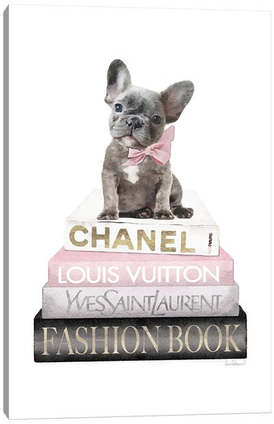 New Books Grey Blush With Grey Frenchie Side Bow Canvas Art Print