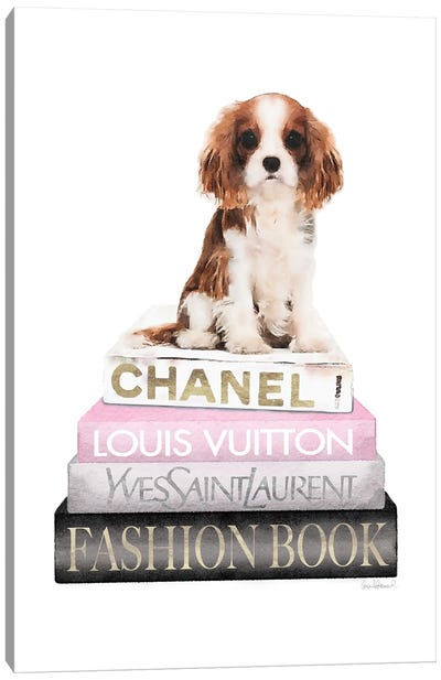 New Books Grey Blush With King Charles Puppy Canvas Art Print